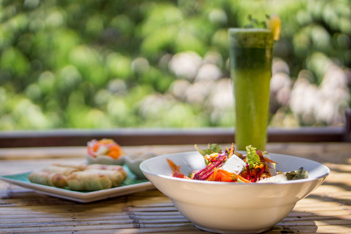 delicious food at bamboo huts at our thailand yoga retreat