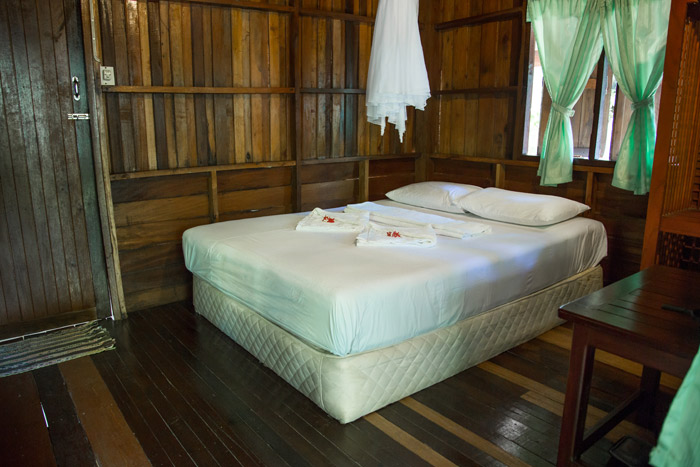 inside a Bamboo hut bungalow