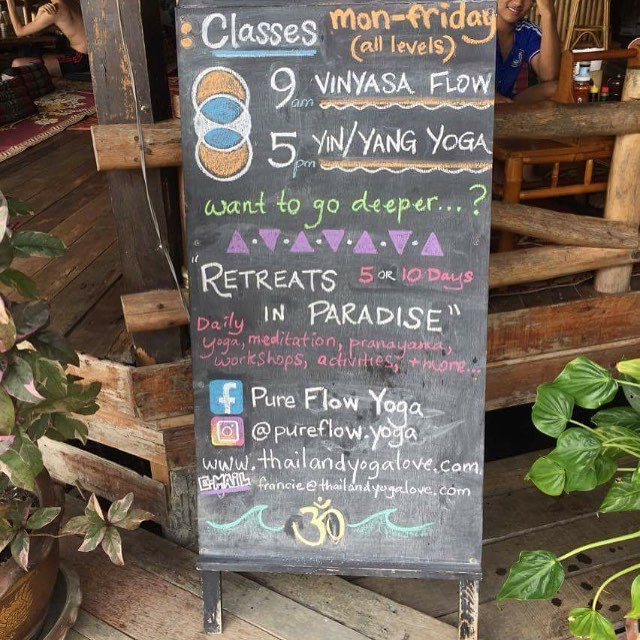 pure flow yoga board in Bamboo Huts at our yoga retreat thailand
