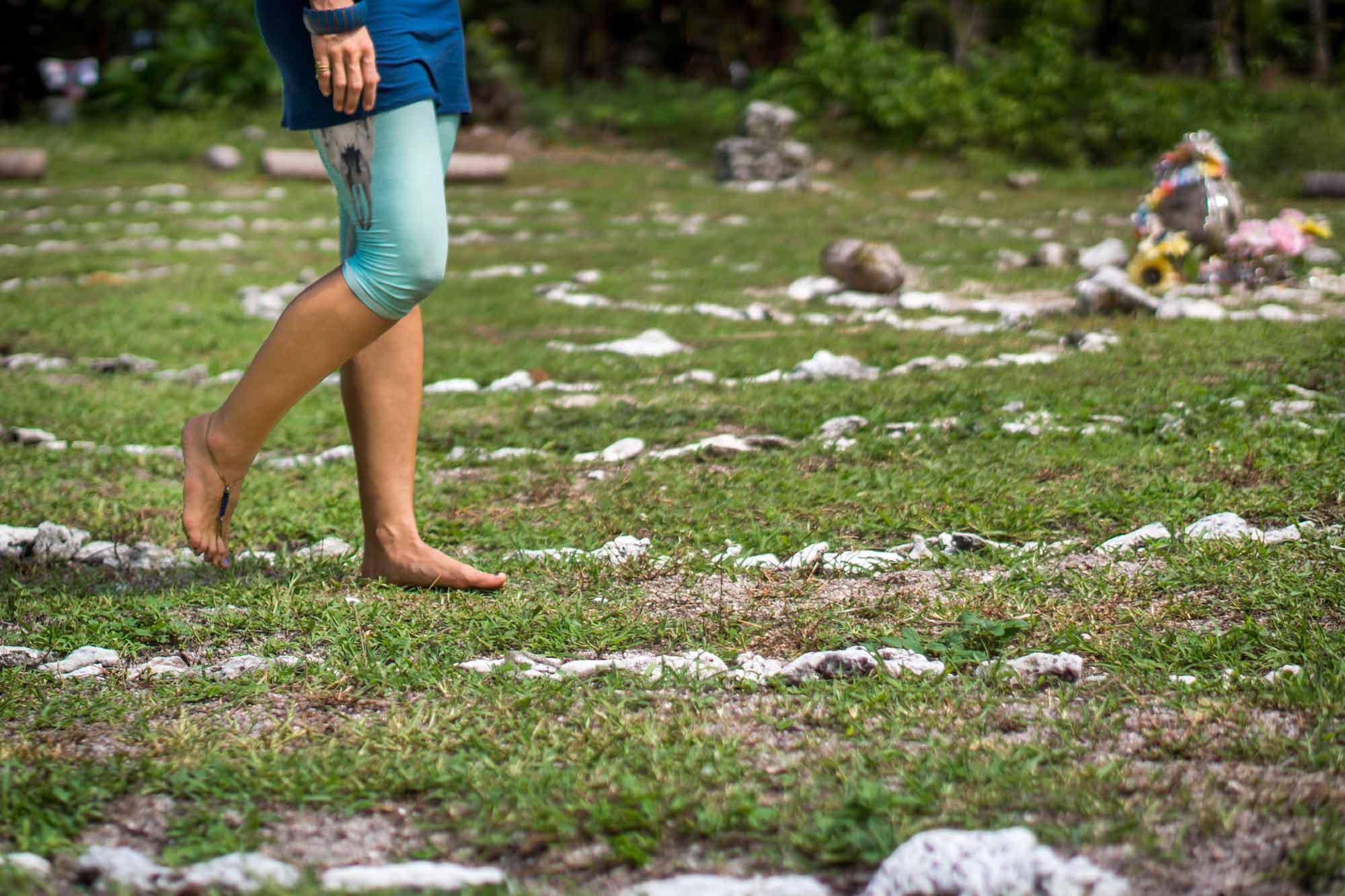 walking the labyrinth at our yoga retreat thailand