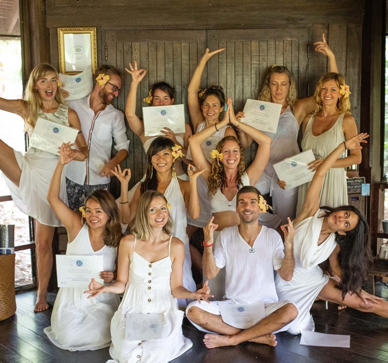 a group of teacher training students in Koh Phangan Thailand holding their graduation certificates